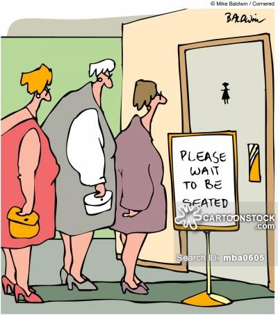 Queue outside lady's toilets: 'Please wait to be seated'.